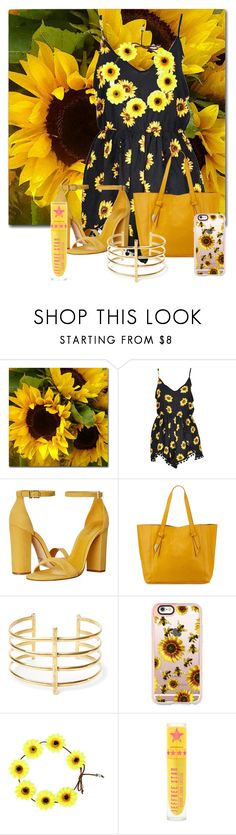 """yellow beauty"" by jaslynnknight ❤ liked on Polyvore featuring Schutz, Foley + Corinna, BauXo, Casetify and sunflower"