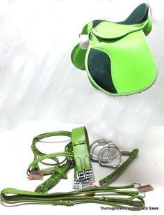 Matching neon green English tack. Tatum its Sara ;)