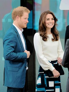"katemiddltons: "" The Duchess of Cambridge and Prince Harry arrive to attend the launch of Heads Together Campaign at Olympic Park 