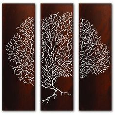 Sea Fan Triptych Wall Panels ($1,520) ❤ liked on Polyvore featuring home, home decor, wall art, garden wall art, triptych wall art, sea fan, steel wall panels and steel wall art