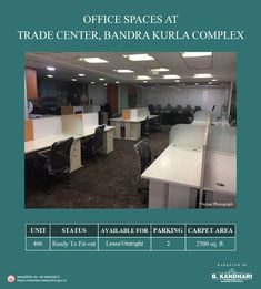 Office spaces available for lease/outright at Trade Center, Bandra Kurla Complex Carpet Area - 2500 sq. Status - Ready to Fit-out Car Parking - 2 For further details kindly contact:- Mr. Property Sale, Space Available, Trade Centre, Office Spaces, Car Parking, Mumbai, Carpet, Real Estate, The Unit