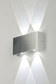 Wandleuchte 71541: modern, Design, Aluminium, rechteckig