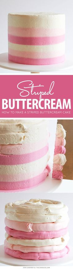 How to make a striped buttercream cake cake decorating ideas Cake Decorating Techniques, Cake Decorating Tutorials, Cookie Decorating, Decorating Ideas, Decorating Cakes, Decor Ideas, Birthday Desserts, Birthday Cake Decorating, Cake Birthday