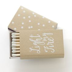 Our LIGHT MY FIRE MATCH BOXES are designed to light your fire! This item comes with your names/date personalized and can be made in any of our papers and foils! #foil #matchbox #wedding