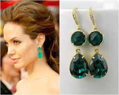 Emerald Green Teardrop Dangle Earrings by BeYourselfJewelry, $54.99