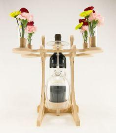Wine Bottle Holder Wine Glass and Bottle by KkornerInnovations // Unique home decor on Etsy