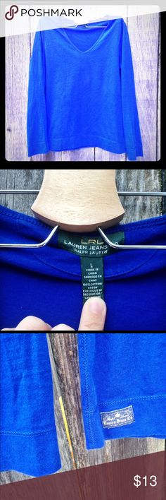 Long sleeved v-neck Electric blue.  Gently used 100% cotton. Ralph Lauren Tops