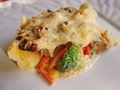 Chefkoch.de Rezept: Rahm-Kartoffel-Blumenkohl Auflauf mit Salami