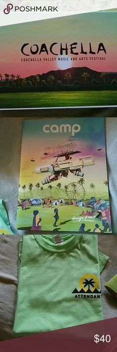 2017 Coachella experience package If you happened to miss Coachella this year you are in luck! I got the goods that everyone gets when they get there! One small T-shirt (pics 3/4) One Coachella Valley Music and Arts Festival 2017 magazine that everyone who attended the festival received. One Coachella Festival box which includes the welcome guide a Coachella iron on patch, a Calendar Book and a few other things the only thing not in the box is the wristband. Coachella Other