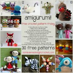 30 Free Crochet Patterns for Amigurumi! #crochet #amigurumi