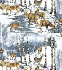 Anti-Pill Fleece Print Fabric-Wintertime Deer