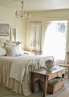 ~~~~~This bedroom from Faded Charm blog has a bedspread that is so inspiring. Love the color of it and how the bedspread falls from the top of the bed to the floor. Love it!