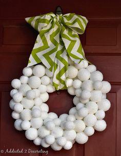 Snowball wreath! Cute!