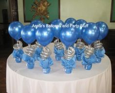 Balloon Table Centerpieces for Debut at Camelot Hotel - Blue and Silver
