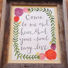 Come and Hear Floral Wreath Painting by mintandmapledesigns, $30.00