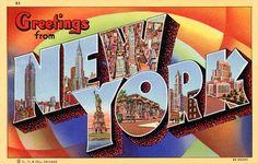 Greetings from New York postcard print, Vintagraph.com.