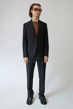 Acne Studios Falun T Wool Mohair black are regular fit, tailored leg trousers.