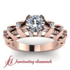 Rose Gold Round Diamond Ring
