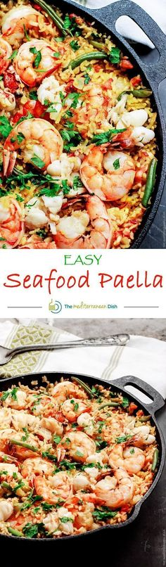 Easy Seafood Paella Recipe | The Mediterranean Dish. Recipe comes with step-by-step photo tutorial to guide your cooking! Love this shrimp and lobster nestled in a bed of saffron rice! A must try from @themeddish #seafoodrecipes