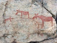 Nämforsen (Sweden) , rock paintings