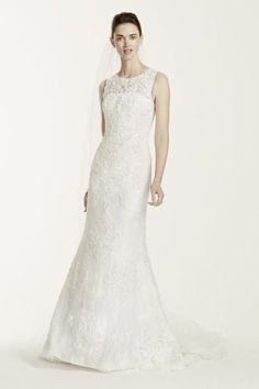 7cec16fbc1a7 Extra Length Lace Oleg Cassini Tank Wedding Dress with Illusion Back -  White