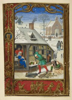 Calendar page for January, from the Golf Book (Book of Hours, Use of Rome), workshop of Simon Bening, Netherlands (Bruges), c. 1540, Additional MS 24098, f. 18v