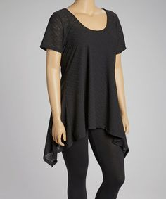 Take a look at this Black Eyelet Sidetail Tunic - Plus by Yummy on #zulily today!
