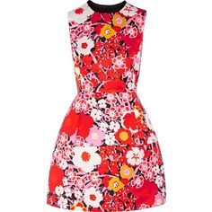 VICTORIA, VICTORIA BECKHAM   Floral-print satin mini dress ($580) ❤ liked on Polyvore featuring dresses, flower printed dress, short dresses, mini dress, satin mini dress and pink satin dress