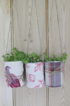 Make & Do: Recycle your old tin cans into decorative hanging plant pots...