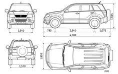 Szkic techniczny Suzuki Grand Vitara II SUV 5d Facelifting