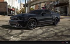 blacked out mustang
