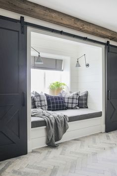 Benjamin Moore Iron Mountain Benjamin Moore Iron Mountain Benjamin Moore Iron Mountain Barn Doors Benjamin Moore Iron Mountain house window seat 2019 New Year Home Tour Small Bedrooms, Home Decor Bedroom, Bedroom Ideas, Bedroom Nook, Bed Nook, Master Bedroom Closet, Cozy Nook, My New Room, Layout Design