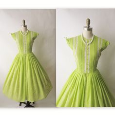 243462411cc 50 s Chartreuse Dress    Vintage 1950 s Shocking Green Tuxedo Rockabilly  Garden Party Dress S.