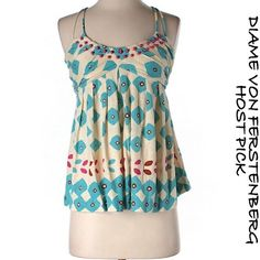 """Diane Von Furstenberg Beaded Boho Silk Top S Diane Von Furstenberg Beaded Boho Silk Blend Top. Size small, bust measures 13"""" flat.  I'm offering 30% bundles. Also, you can use the red dot 4/$20 items to make my discount of 30% kick in  Diane von Furstenberg Tops"""