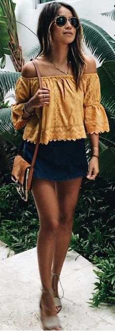 #sincerelyjules #spring #summer #besties | Mustard BTS Top + Navy Little Skirt Source