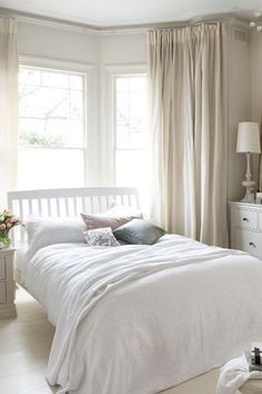 Cream Walls And Curtains, Neutral Colour Scheme, Curtains For Bay Window    Bedroom Ideas