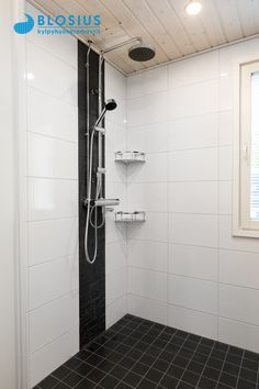 Bathroom Renos, Small Bathroom, Master Bathroom, Bathroom Ideas, Bathrooms, White Tile Shower, White Tiles, Sauna Room, Bathtub