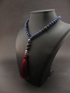 108 Mala BeadsGarnet & Lapis Lazuli Gypsy Jewelry by GreenPalace