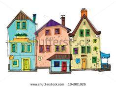 stock vector : Victorian facades - cartoon