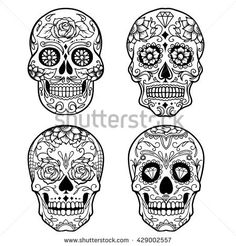 stock-vector-day-of-the-dead-sugar-skull-outline-tattoo-429002557.jpg (450×470)
