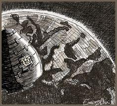 Illustrazione tratta dal diario di Yakov, un blog di fantascienza contadina del 1964 - 2° Giorno - In orbita