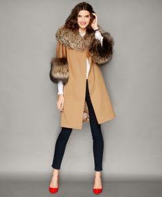 The Fur Vault Fox-Fur-Trim Wool Walker Coat