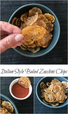 Italian Style Baked Zucchini Chips -Garlic and basil flavor these Italian Style Baked Zucchini Chips. Serve them up with marinara for dipping and watch them disappear! Homemade Baked Potato Chips, Baked Zucchini Chips, Zuchinni Chips, Zucchini Bread, Healthy Snacks, Healthy Recipes, Healthy Chips, Simple Snacks, Eat Healthy