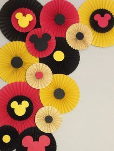 Paper Rosettes Mickey Mouse Birthday Decor Photo Booth-Flower Wall-Birthday Pary-Bridal Shower-Princess-Minnie mouse Paper Fans Paper Rosettes Mickey Mouse Birthday Decor by LavishInspirations Mickey Mouse Birthday Decorations, Mickey 1st Birthdays, Theme Mickey, Mickey Mouse 1st Birthday, Mickey Mouse Parties, Mickey Mouse Backdrop, Disney Mickey, Mickey Mouse Clubhouse, Mickey Mouse Classroom