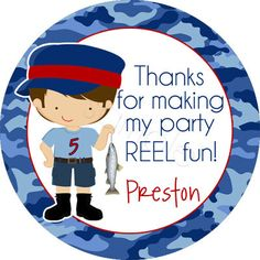 Little Boy Fisherman Personalized Stickers - Party Favor Labels, Birthday Stickers, Fishing, Boy Scouts, Camping- Choice of Size and Colors. $6.00, via Etsy.