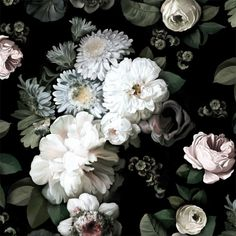Dark Floral Wallpaper - by Ellie Cashman Design