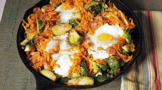 Chew Viewer - Baked Eggs with Sweet Potato Brussels Sprouts Hash
