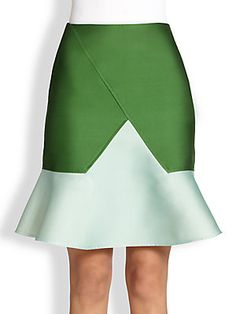 Ostwald Helgason Colorblock Structured Satin Flared Skirt