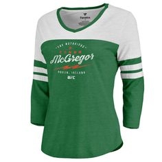 Women's Fanatics Branded Conor McGregor Kelly Green UFC Bolt Three-Quarter Sleeve Tri-Blend T-Shirt