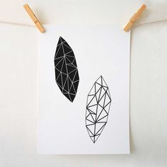 A bold and graphic minimalist art print of black geometric leaves available in a variety of sizes.    Sizes A5 & A4 - High Quality Print on Recycled